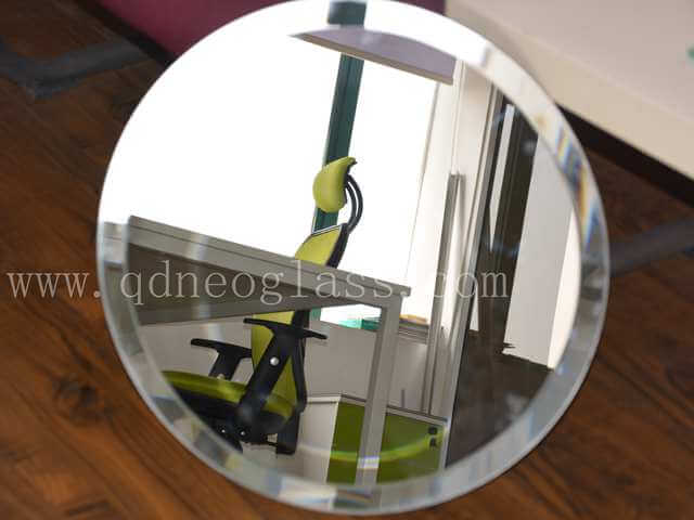 Round Mirror with Bevelled Edges-Aluminum & Silver